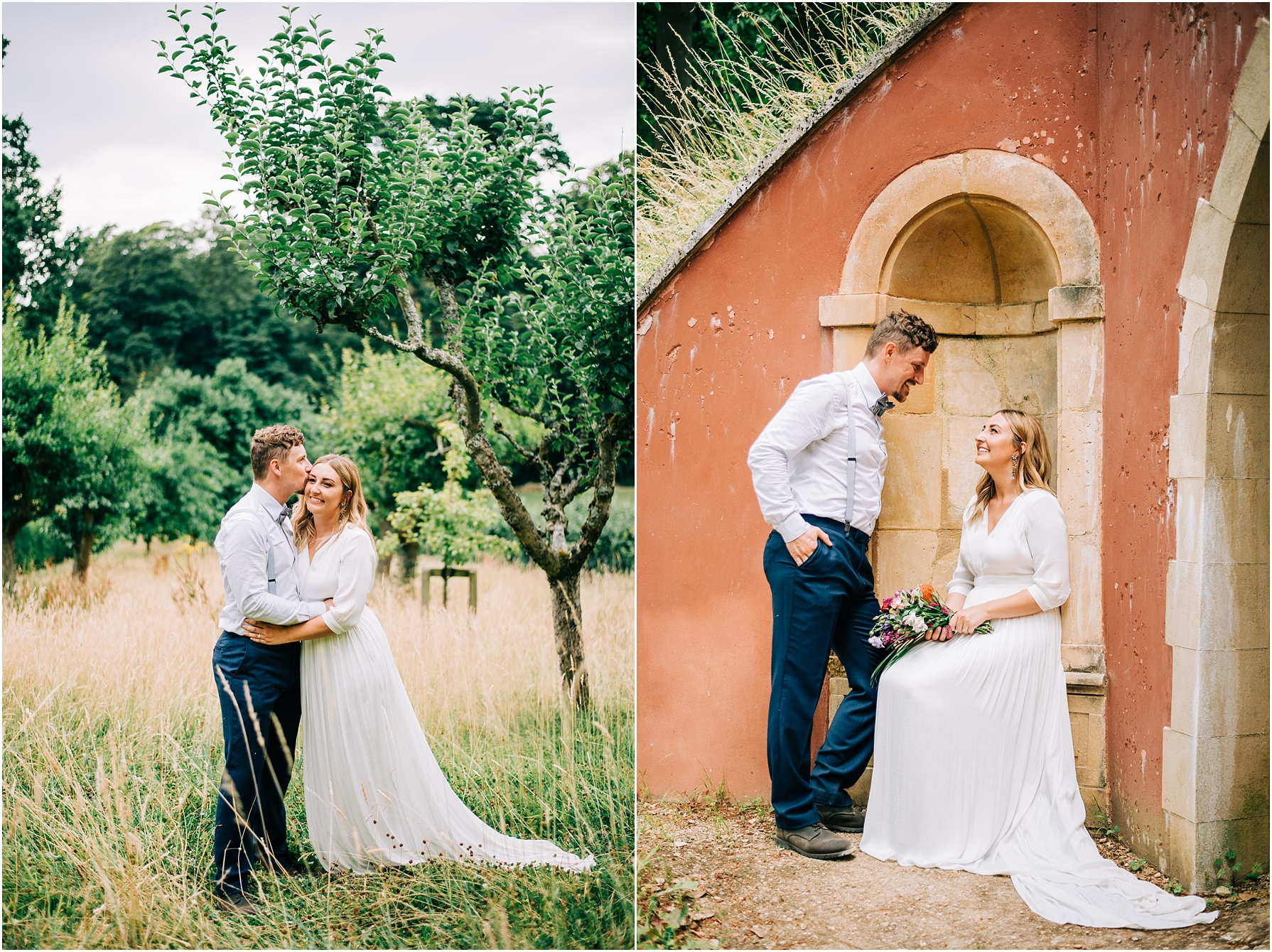 couple portraits at rococo garden