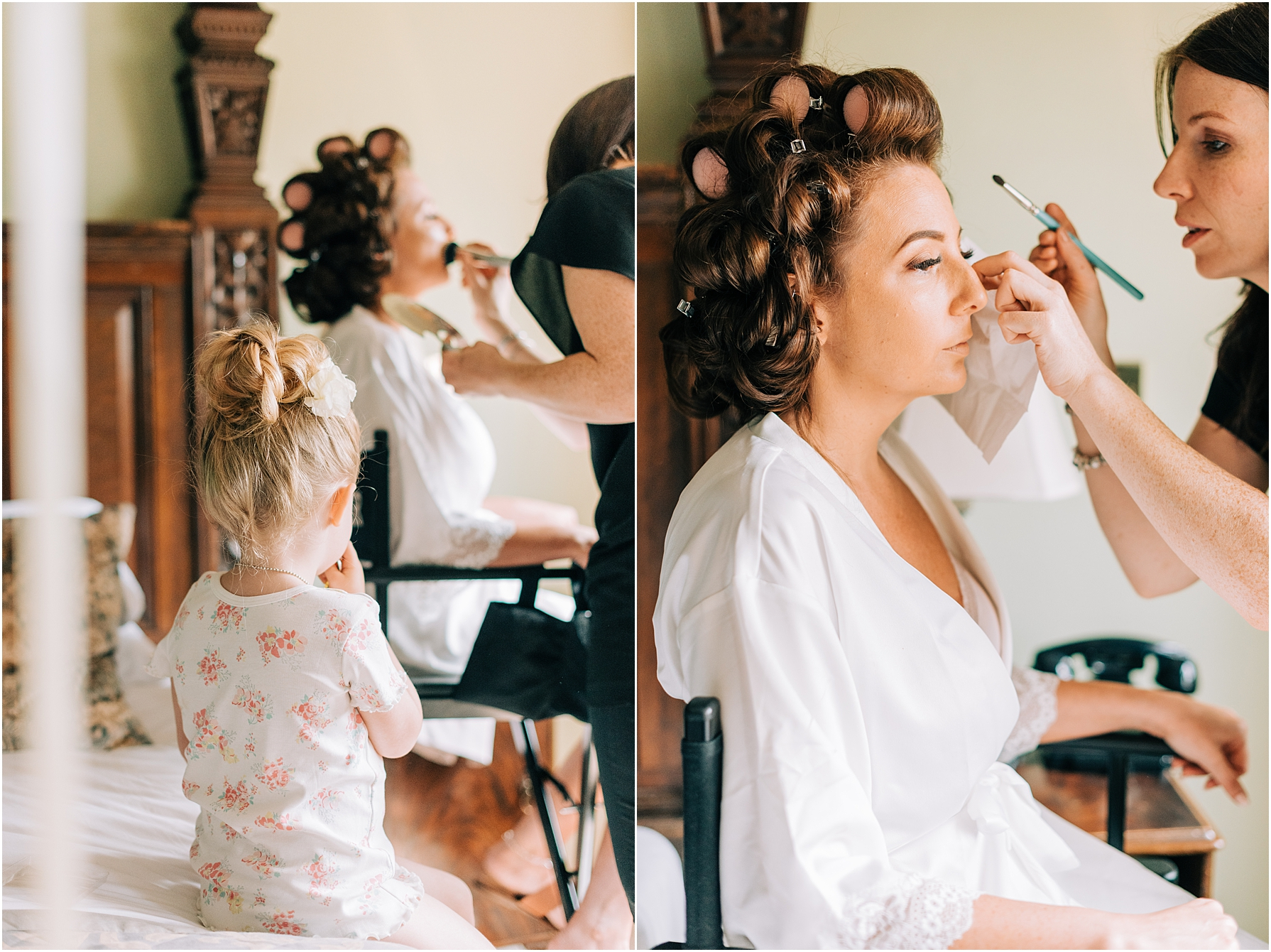 flower girl watching bride have her makeup done by Katy Pheiffer