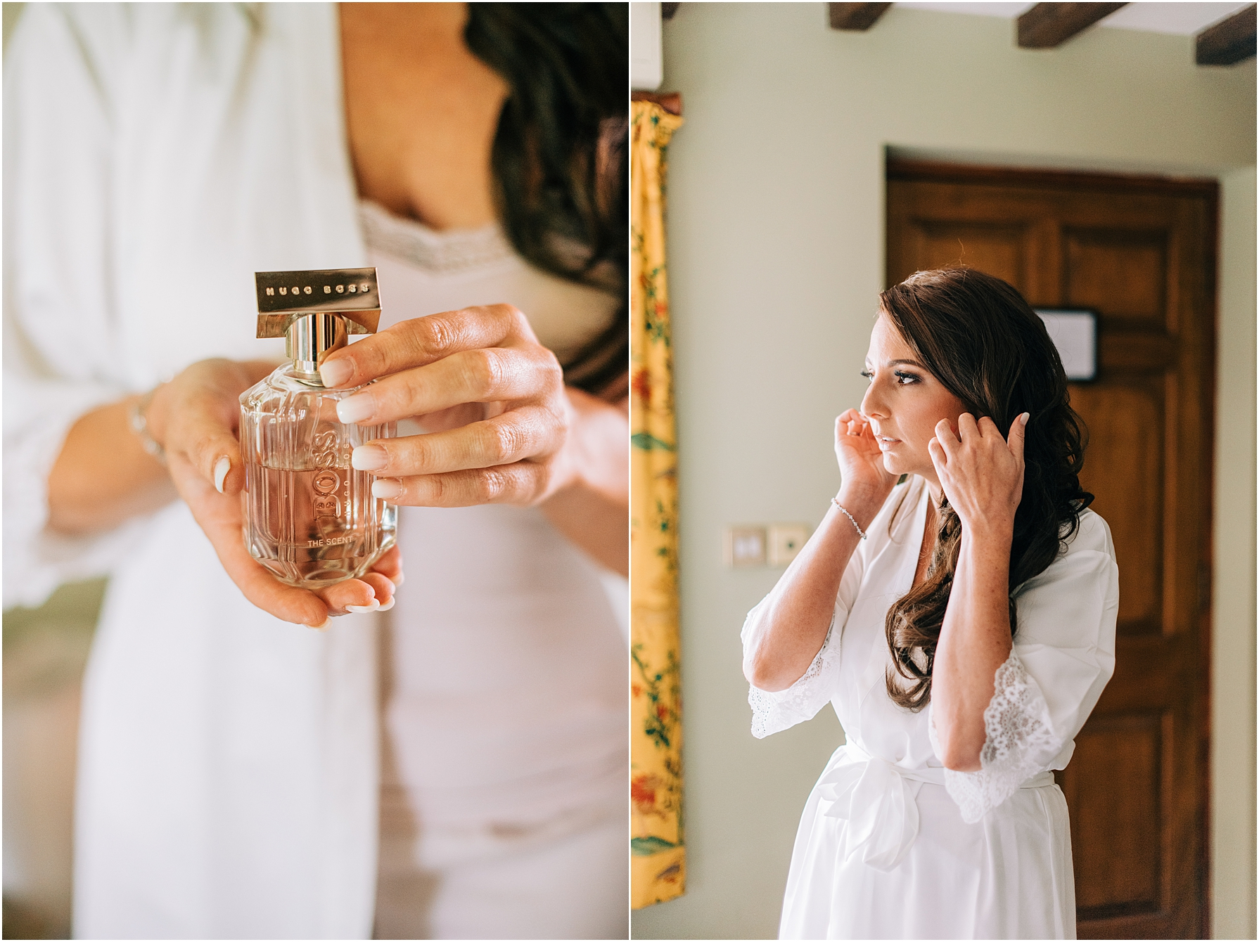 bride holding her perfume whilst getting ready for the ceremony