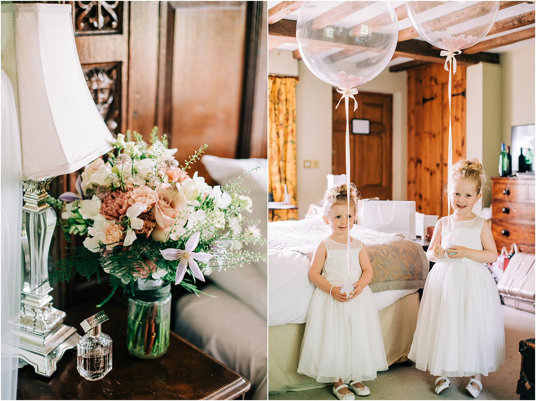 flower girls holding clear balloons in the bedroom at the moonraker hotel