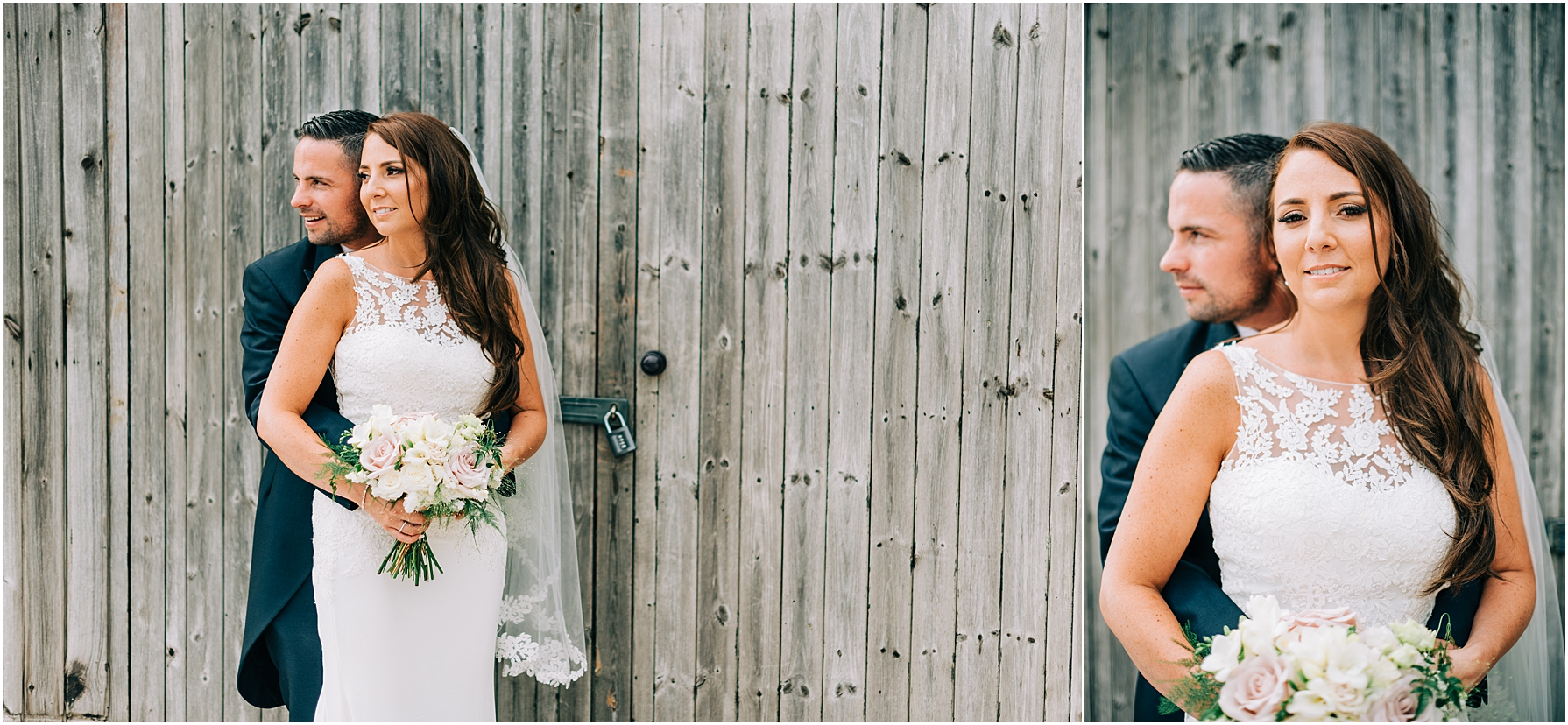 bride and groom standing in front of wooden shed  at moonraker hotel