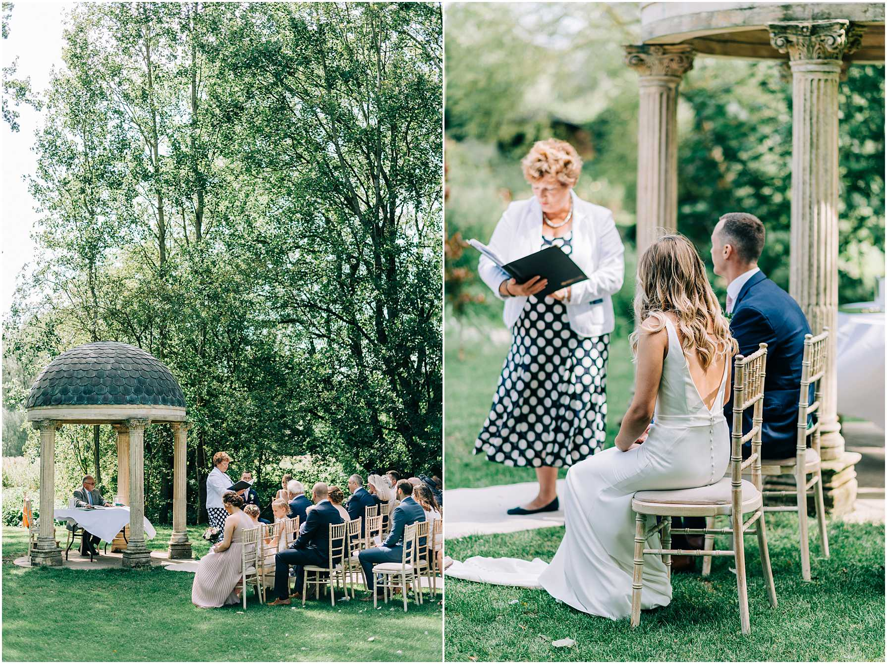 bride and groom sitting side by side during outdoor ceremony