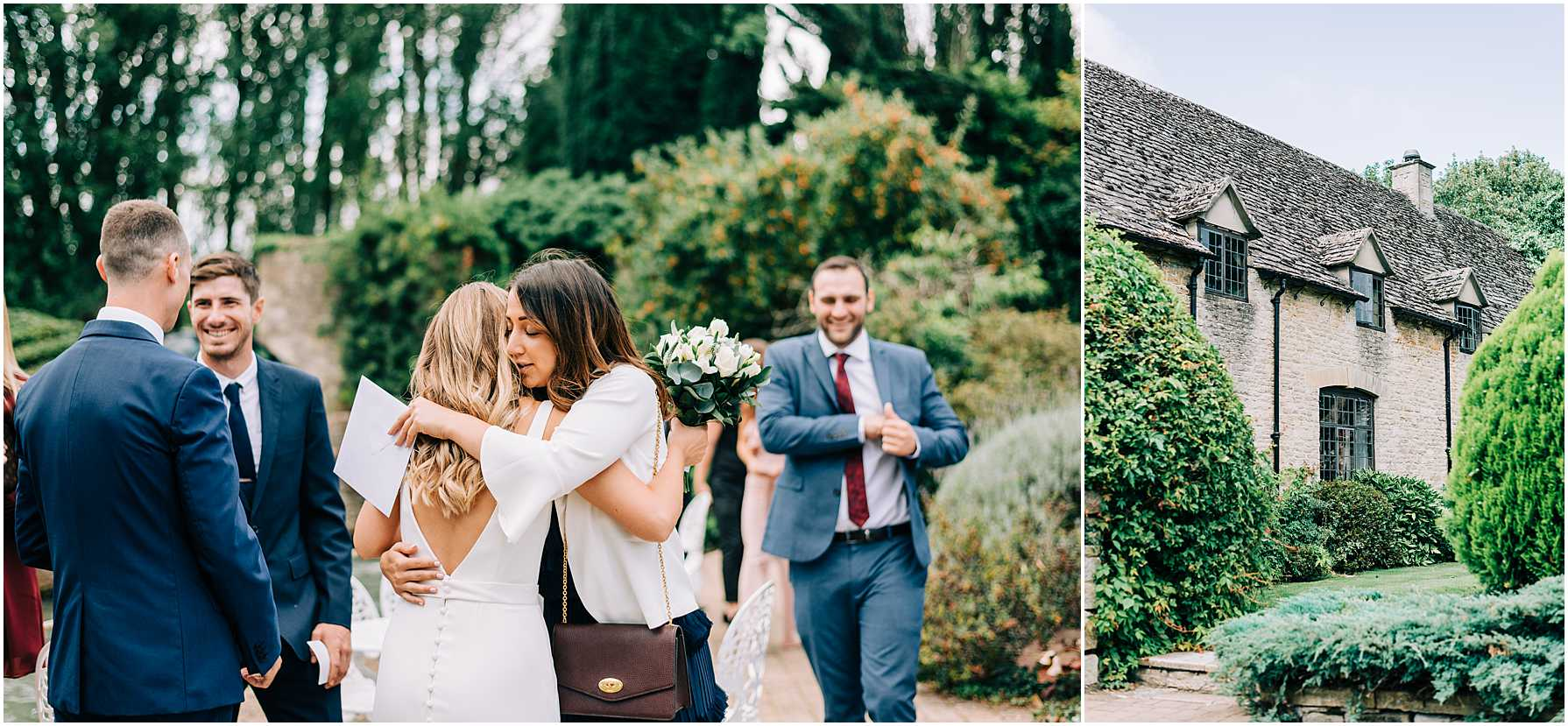 bride hugging guests outside at the old swan and minster mill
