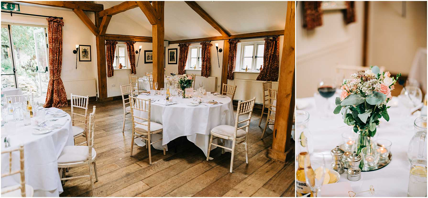 wedding breakfast tables at the old swan and minster mill