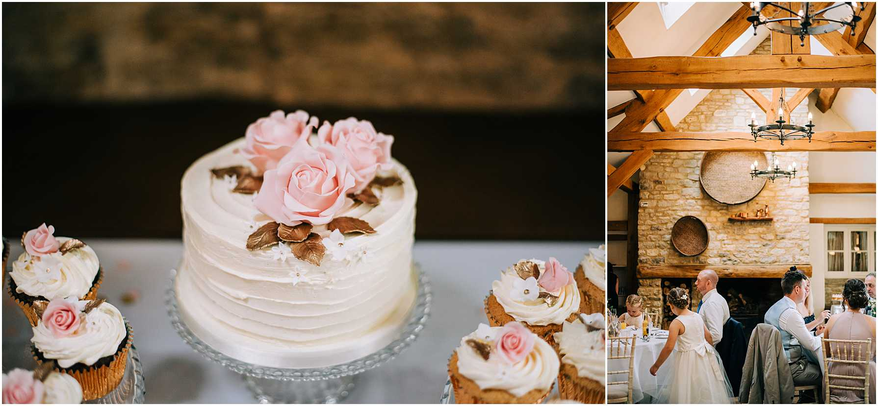 pink and cream wedding cake with small cup cakes