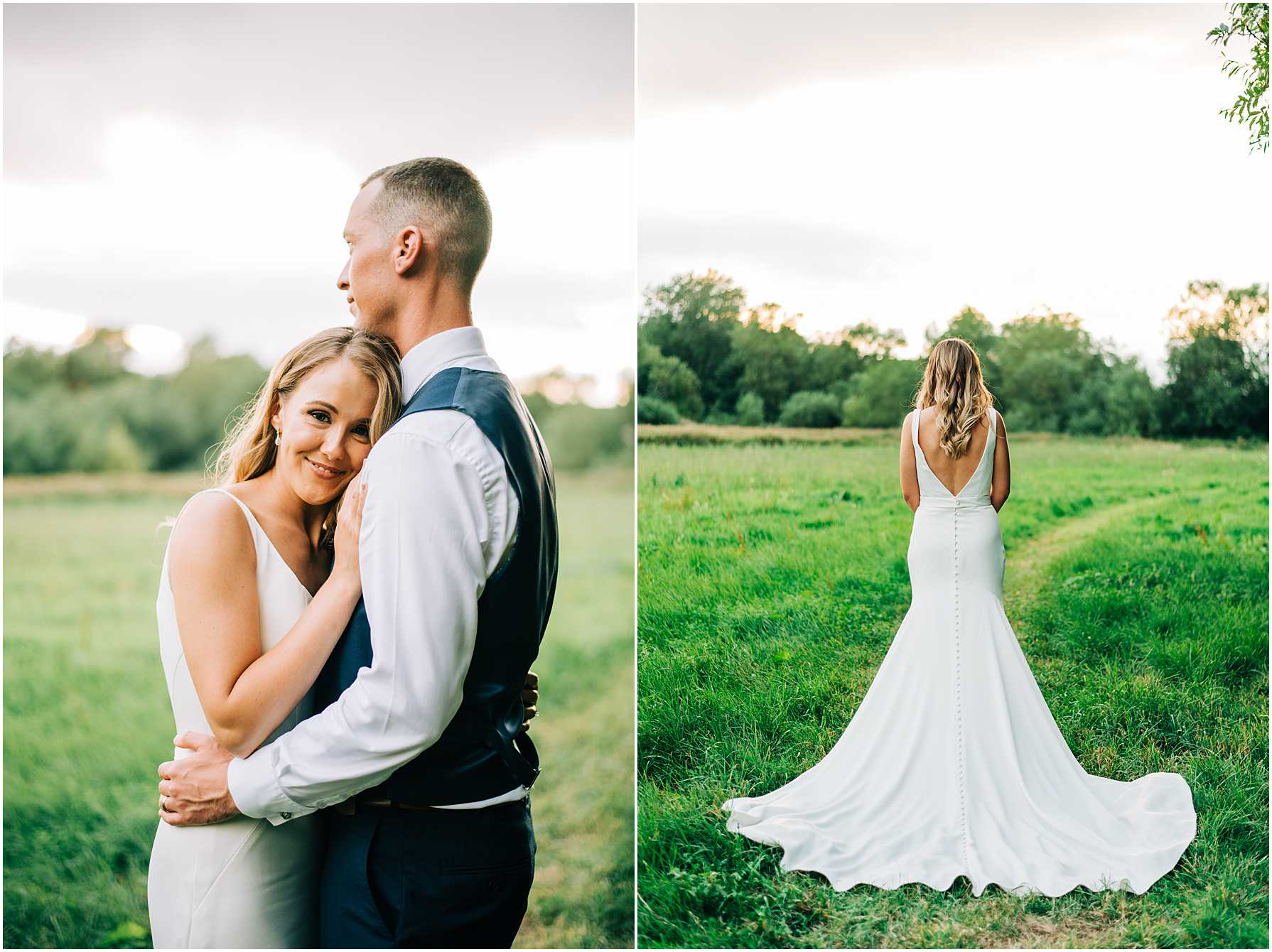 bridal portraits in a field during sunset
