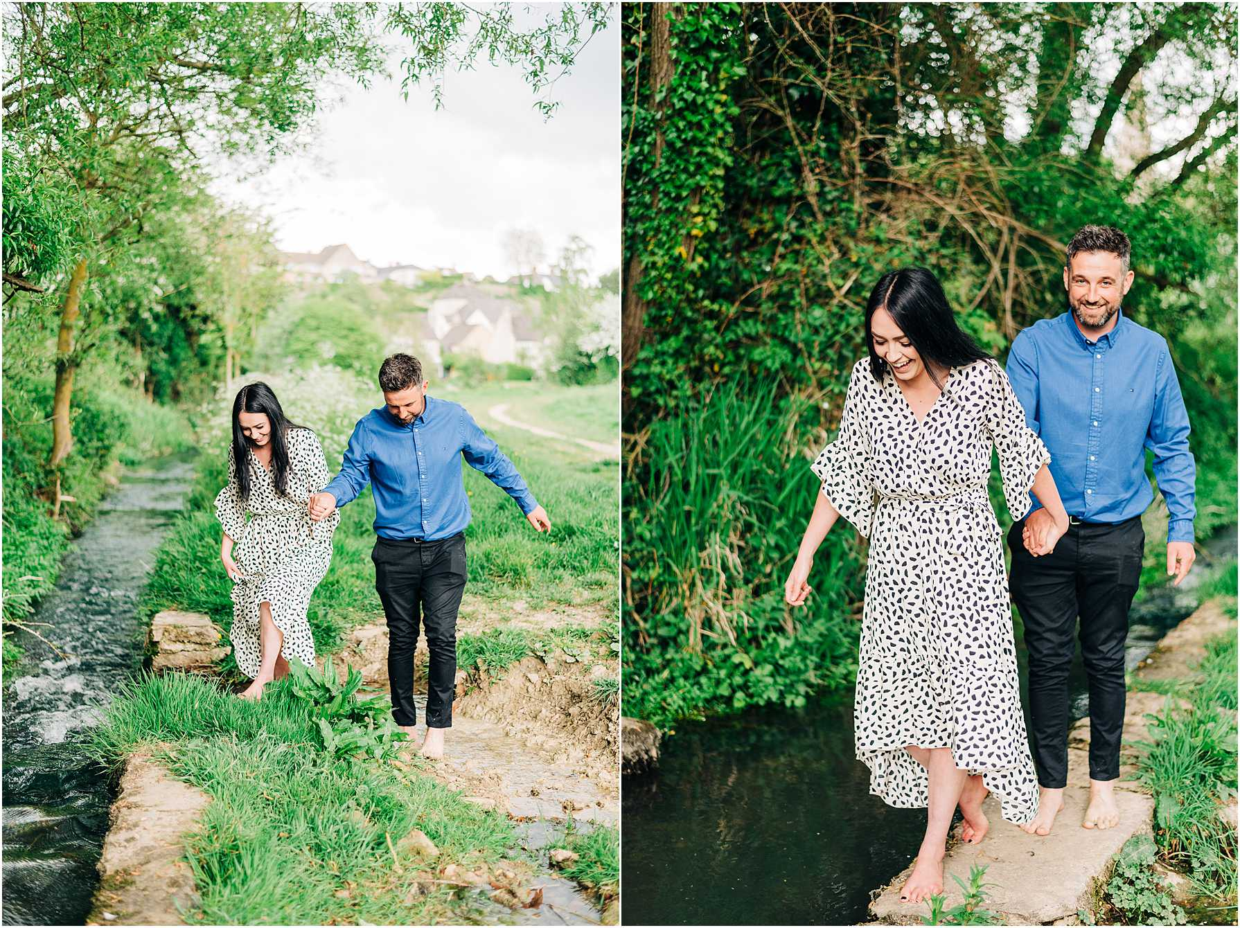 couple walking hand in hand next to a stream in wiltshire