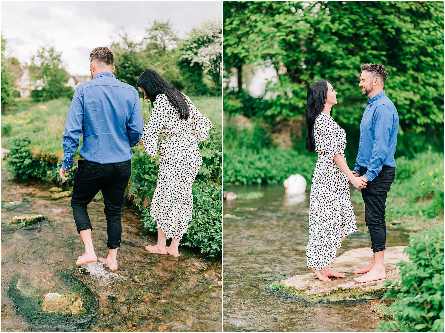 couple standing on a rock at the river edge