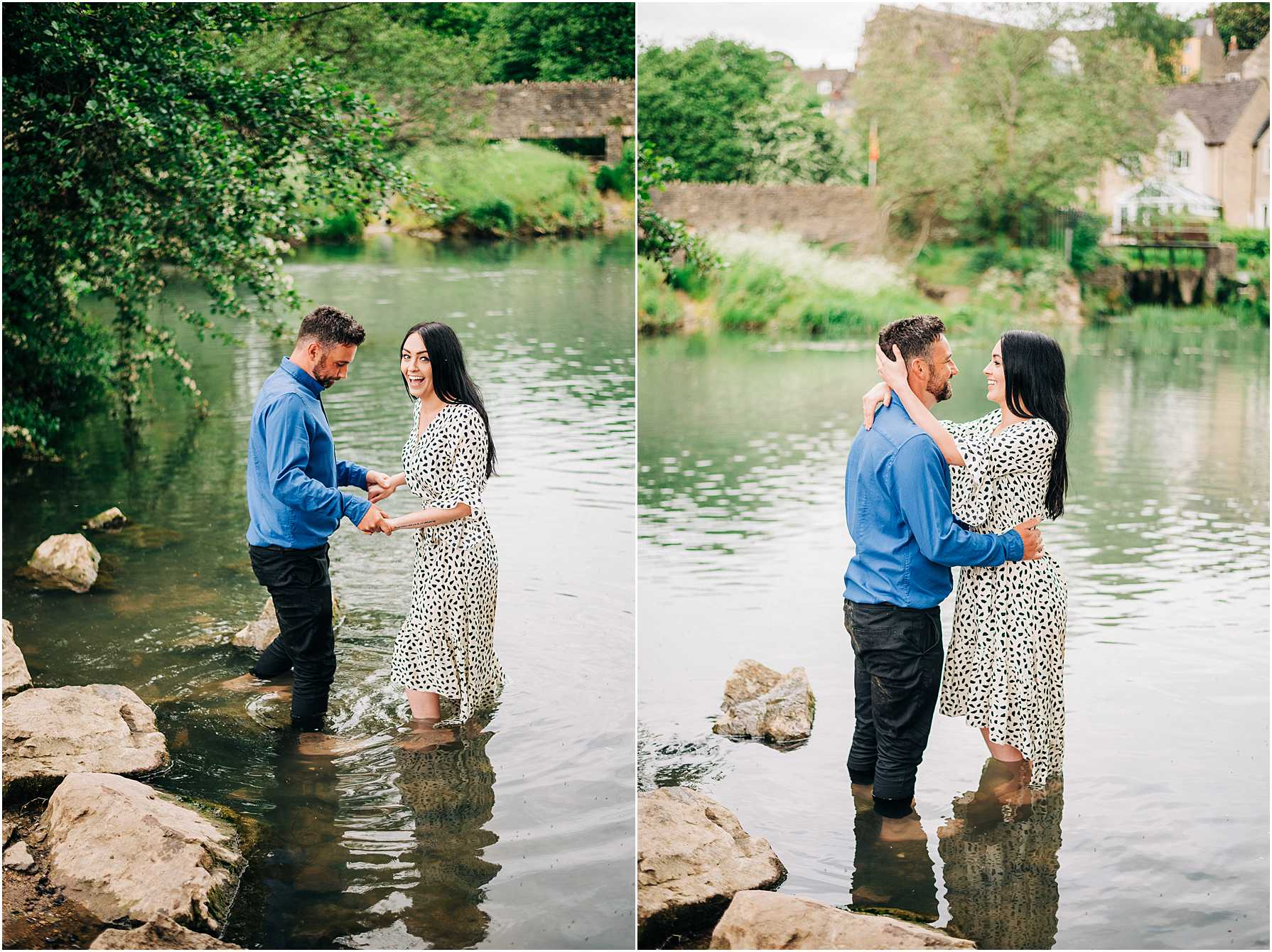 engaged couple standing in the water at daniels well in wiltshire