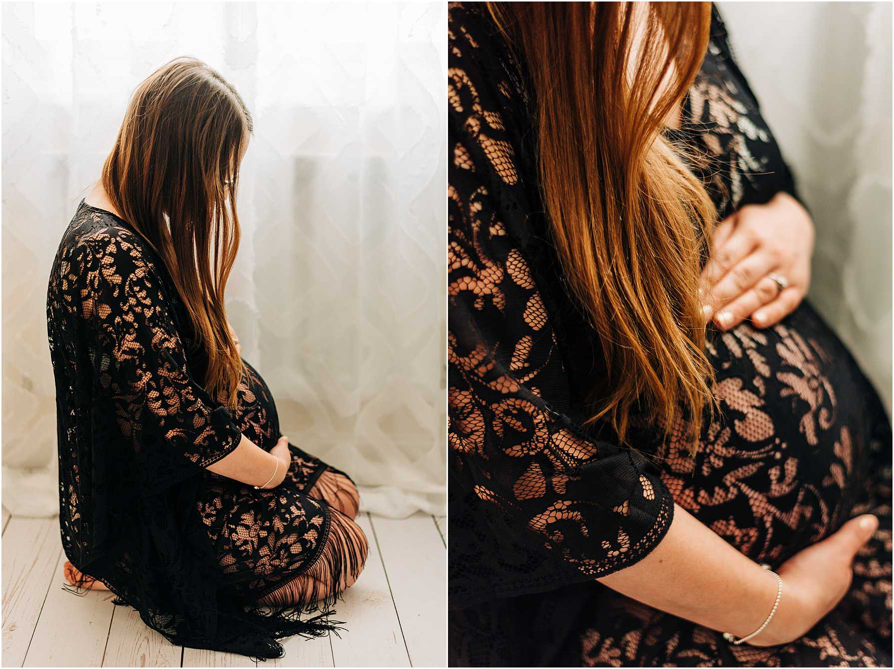 pregnant lady sitting down holding her belly wearing a black lacy dress