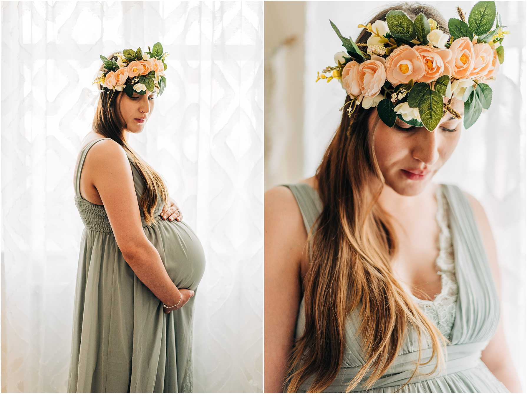 pregnant woman wearing a flower crown standing next to a window