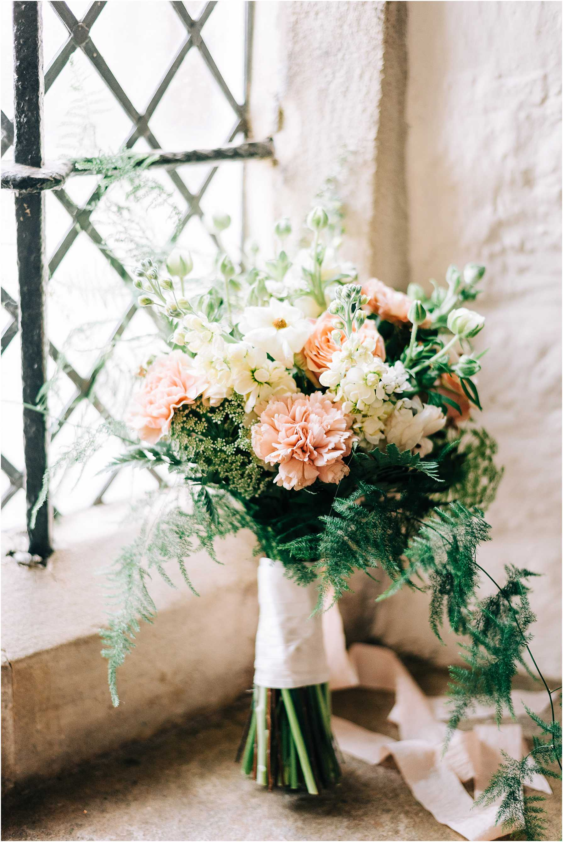 coral, white and green wedding bouquet