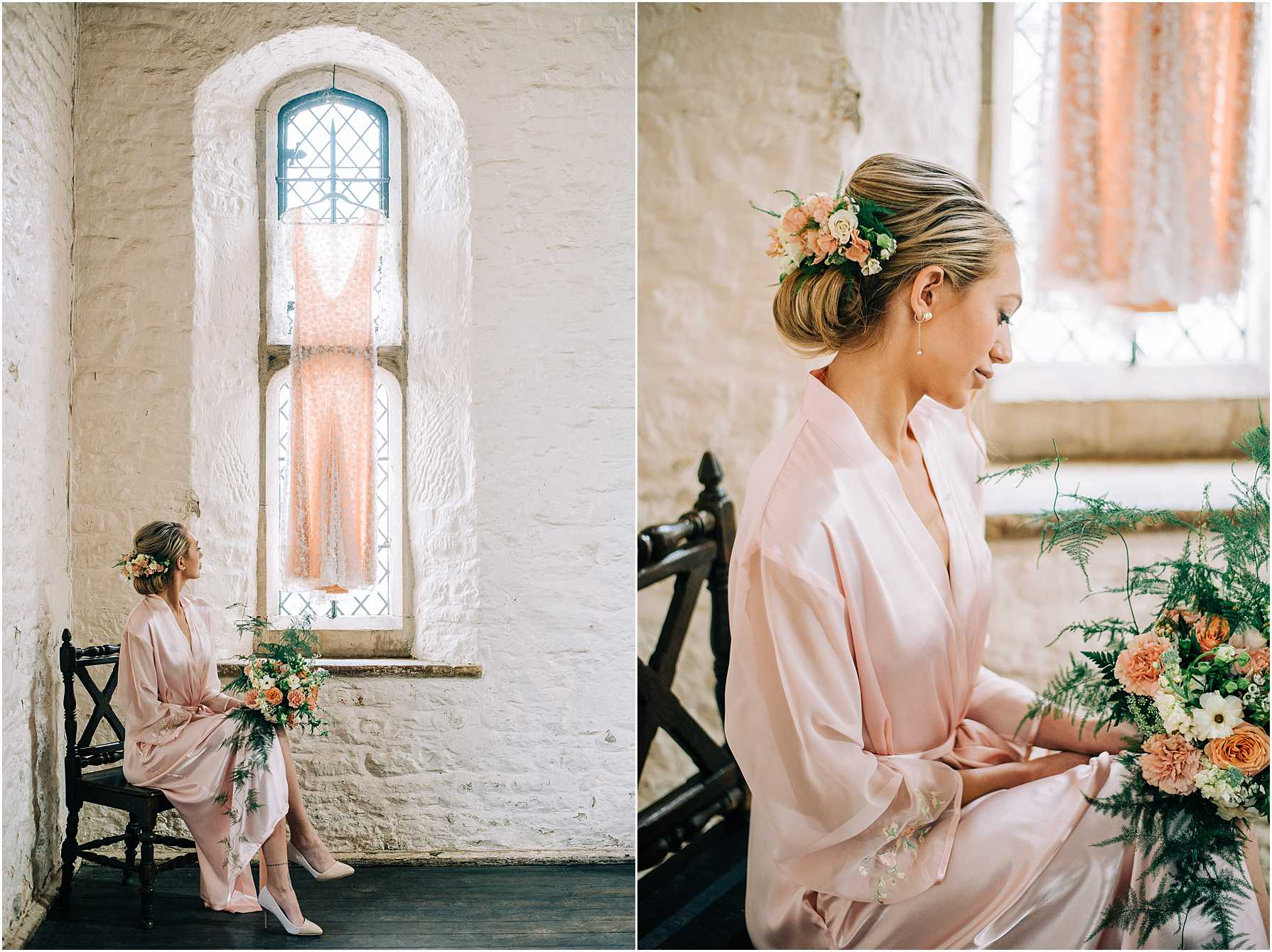 bride to be sitting on a wooden chair looking at her bouquet