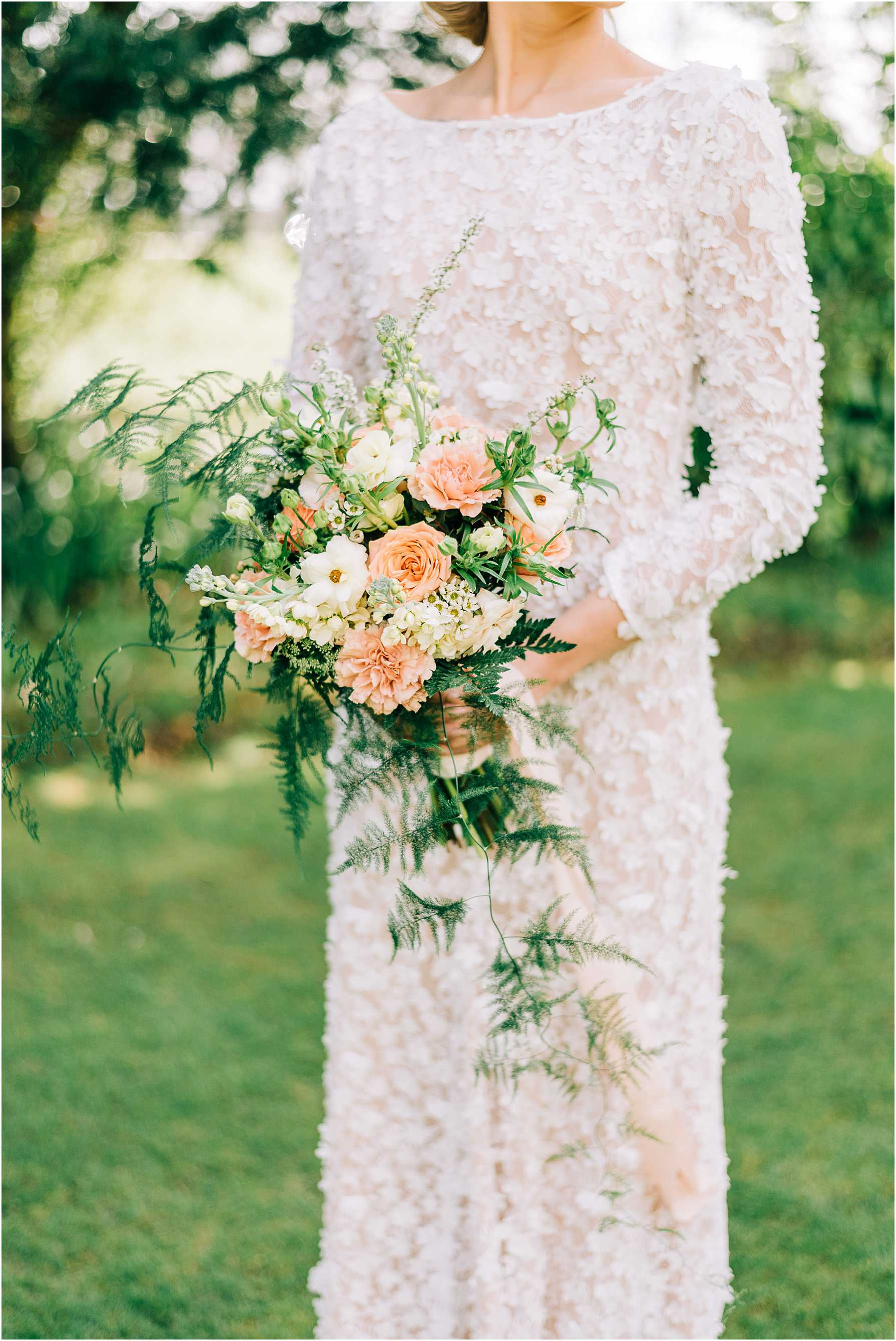 coral white and green wedding flowers
