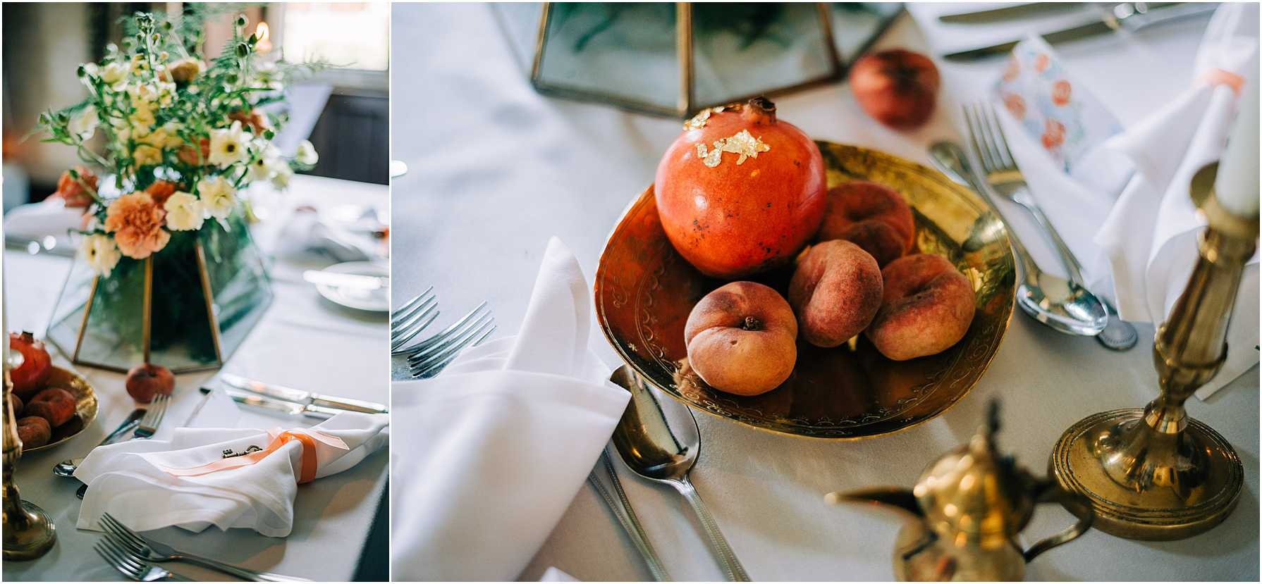 wedding breakfast table with peaches in a bowl