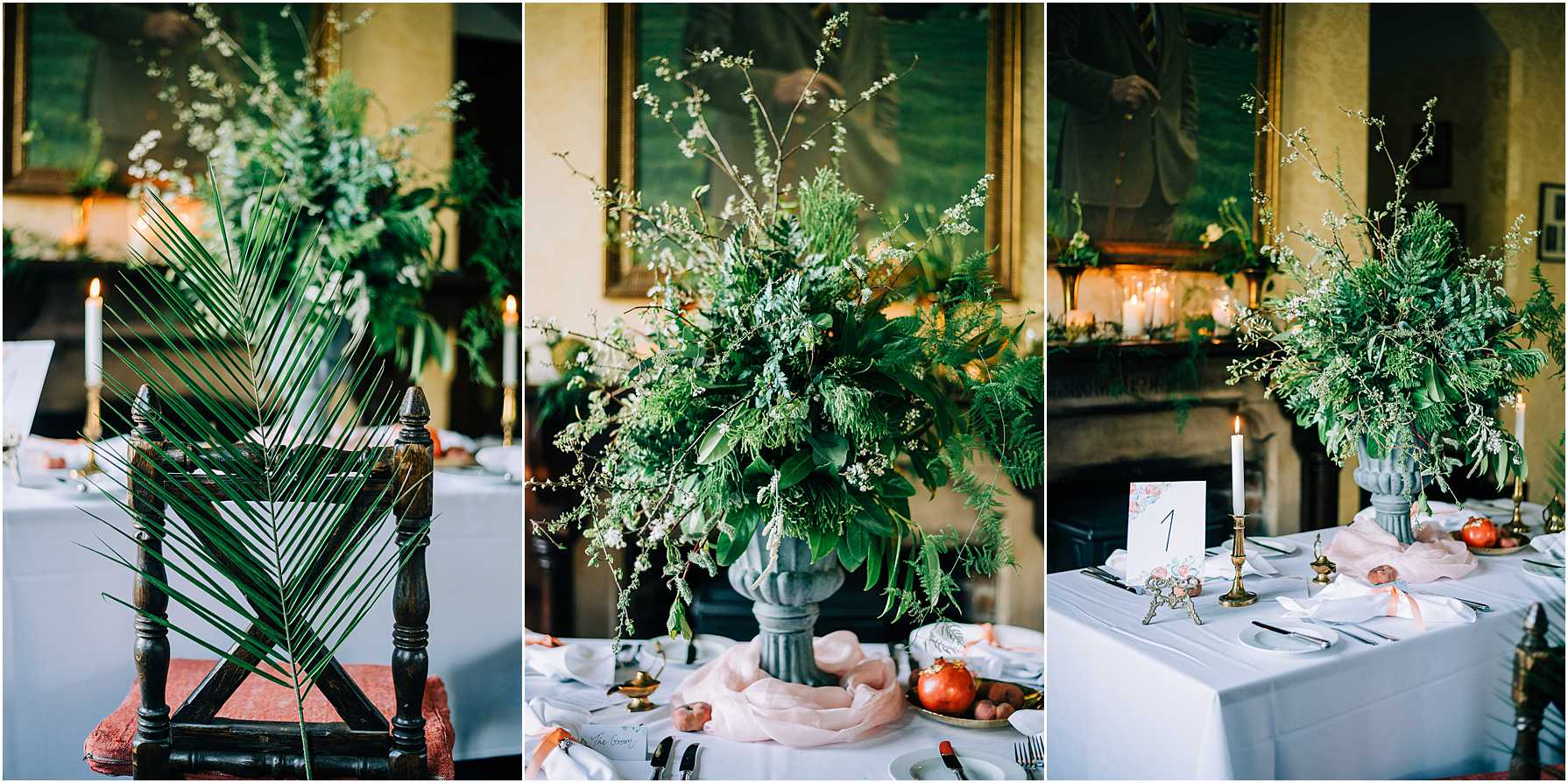 large green foliage centre piece on wedding table
