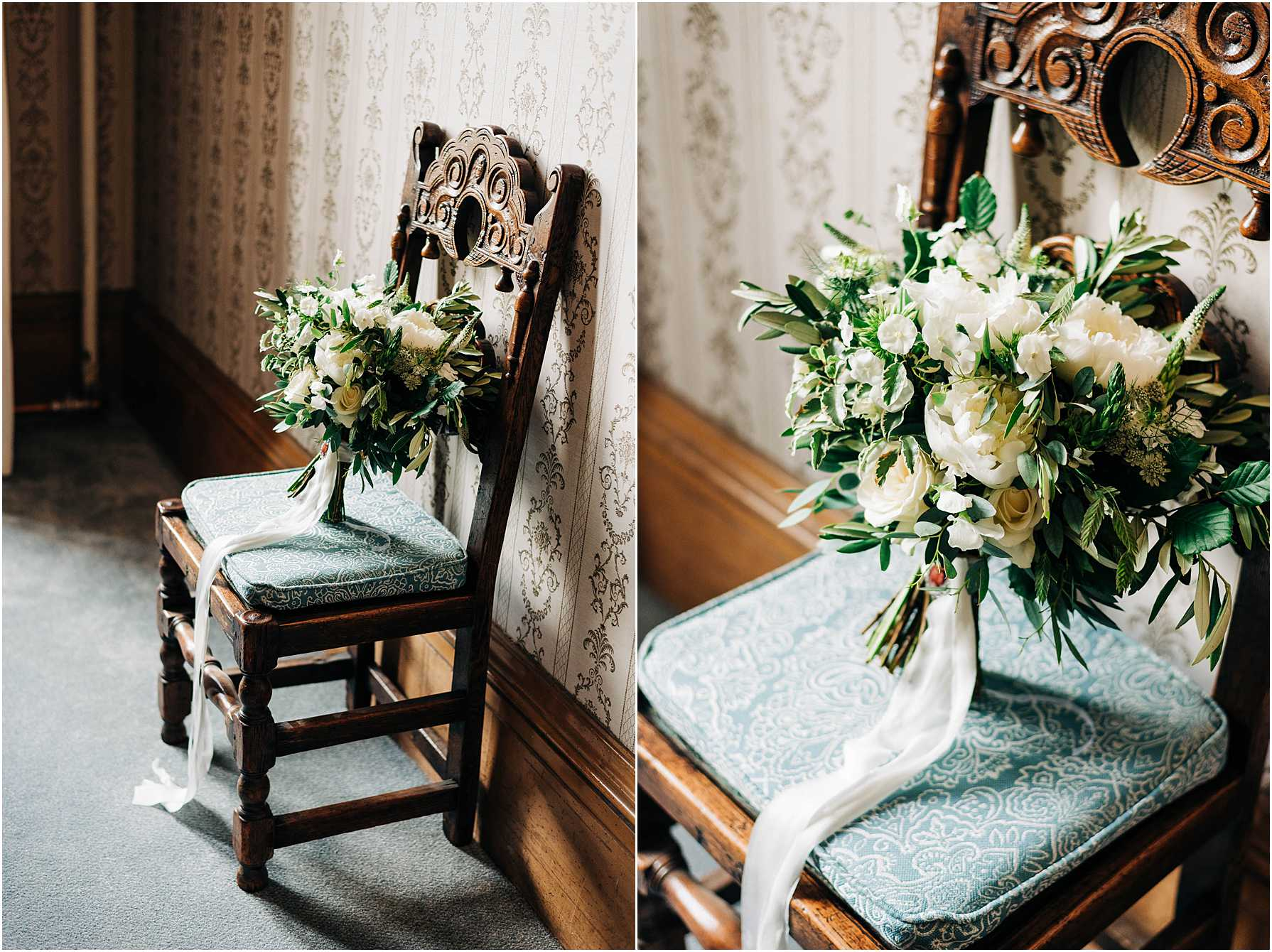 cream and green bouquet with silk ribbon on a dark wooden chair