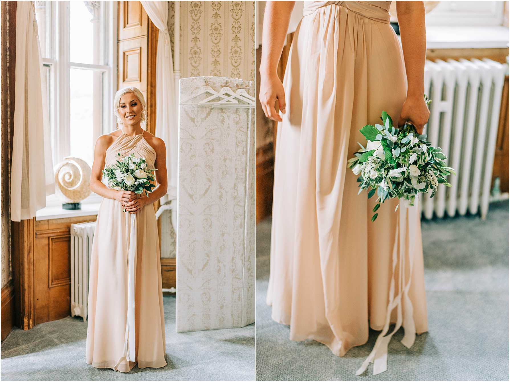 bridesmaid wearing pale coral dress holding a bouquet of white and green flowers