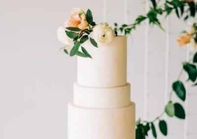 simple white wedding cake