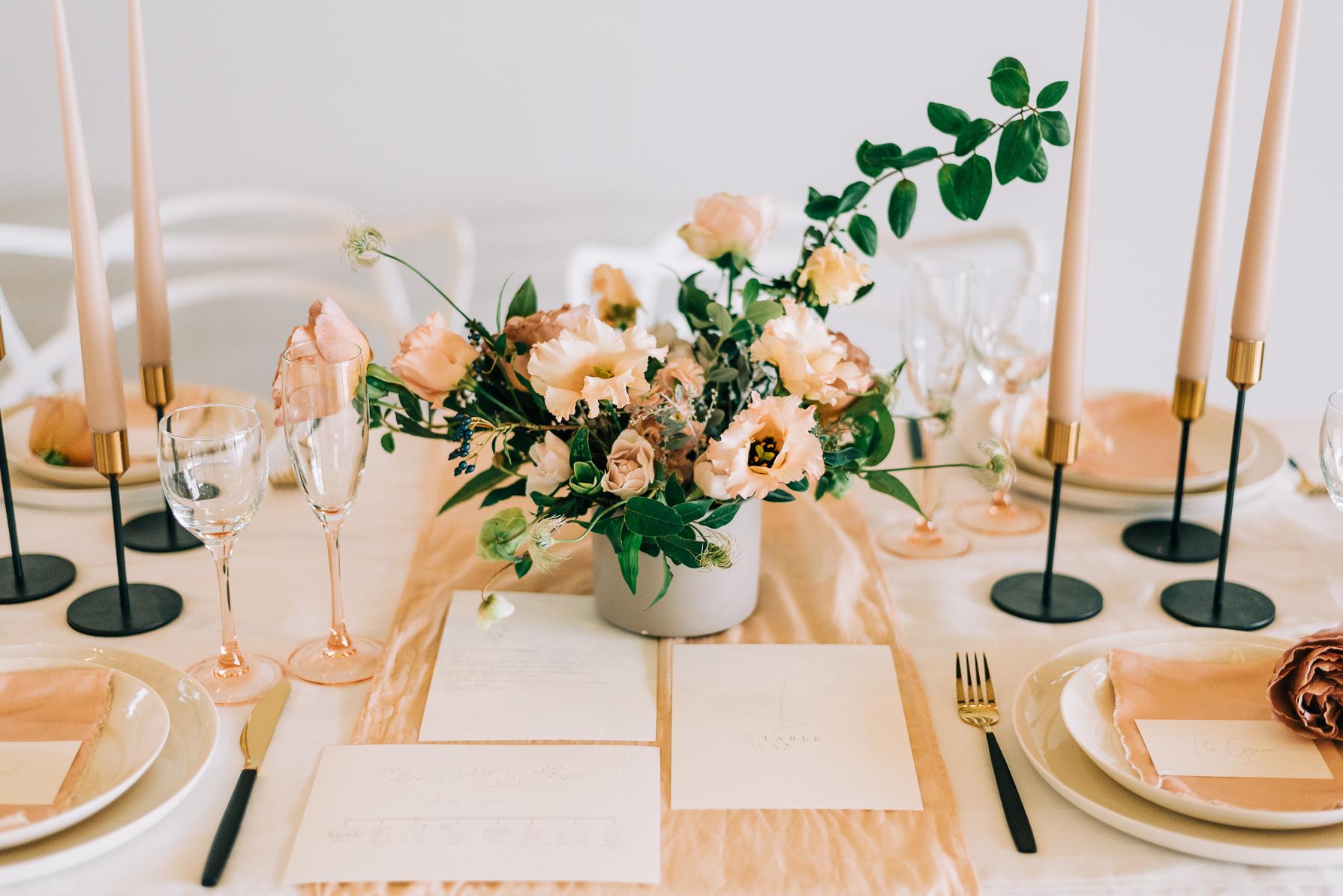 wedding breakfast table setup at casterley barn